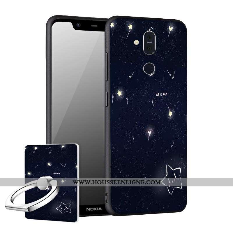 Coque Nokia 8.1 Délavé En Daim Fluide Doux Incassable Téléphone Portable Noir Étui
