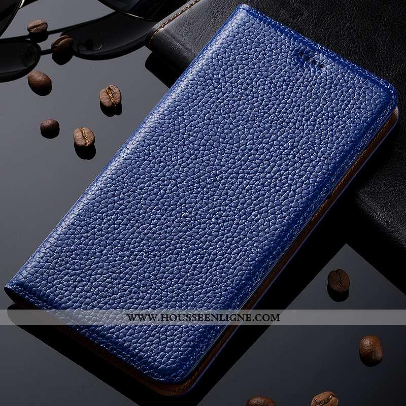 Coque Nokia 8.1 Modèle Fleurie Protection Litchi Housse Bleu Cuir Véritable Téléphone Portable