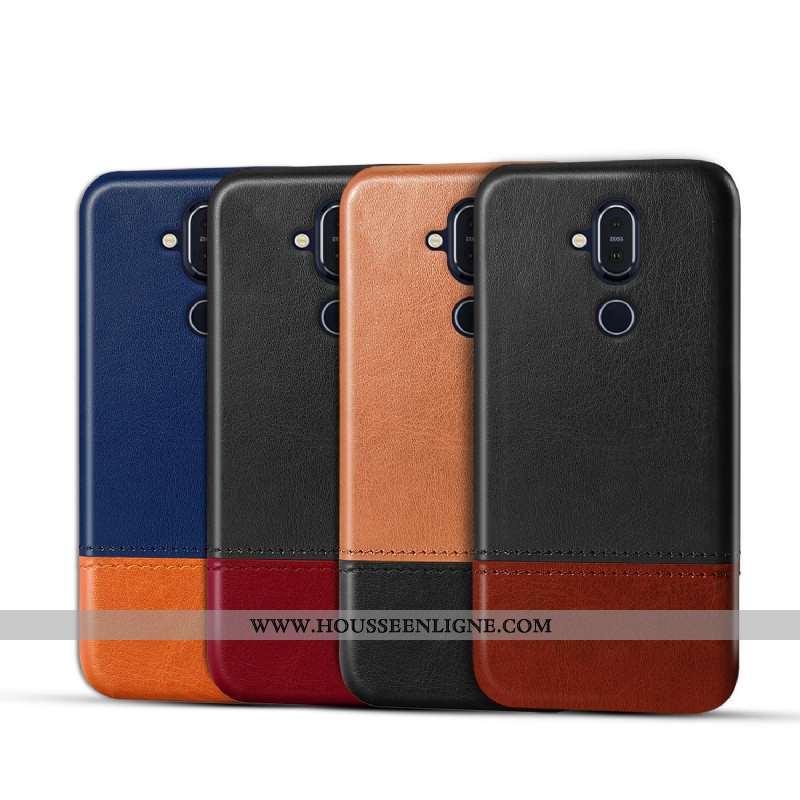 Coque Nokia 8.1 Personnalité Cuir Incassable Étui Téléphone Portable Qualité Marron