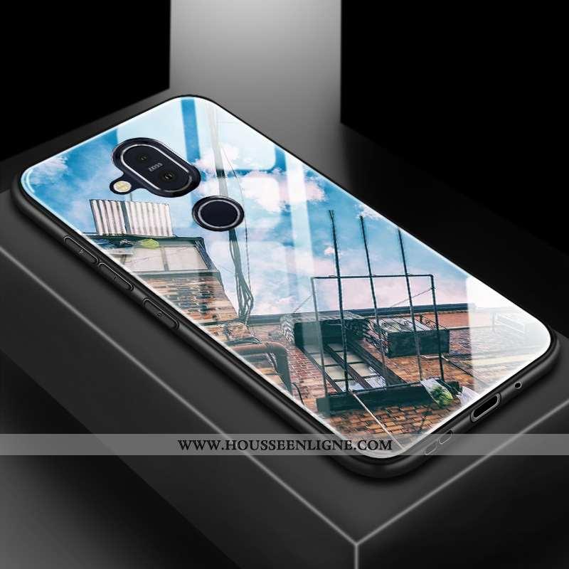 Coque Nokia 8.1 Tendance Silicone Difficile Téléphone Portable Amoureux Membrane Protection Bleu