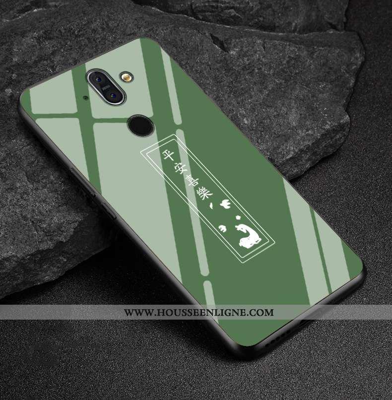 Coque Nokia 8 Sirocco Charmant Protection Délavé En Daim Incassable Vert Étui Verre Verte