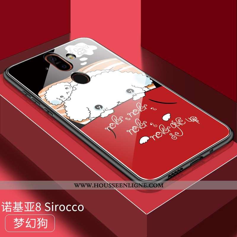 Coque Nokia 8 Sirocco Personnalité Dessin Animé Difficile Protection Incassable Verre Étui Rouge