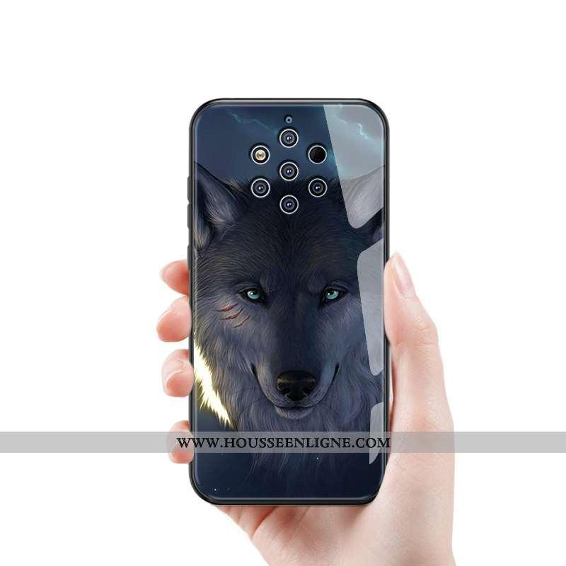 Coque Nokia 9 Pureview Silicone Protection Créatif Difficile Verre Tendance Bleu
