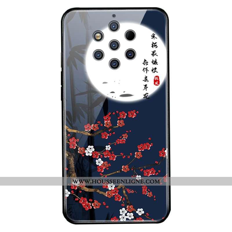 Coque Nokia 9 Pureview Verre Créatif Téléphone Portable Net Rouge Bleu Marin Étui Bleu Foncé