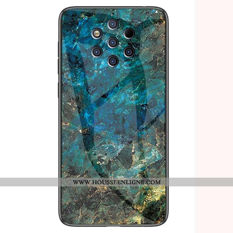 Coque Nokia 9 Pureview Verre Personnalité Modèle Fleurie Incassable Étui Grand Vert Verte