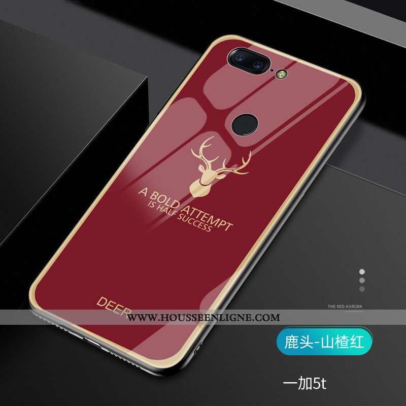 Coque Oneplus 5t Créatif Tendance Téléphone Portable Rouge Verre Vert Net Rouge