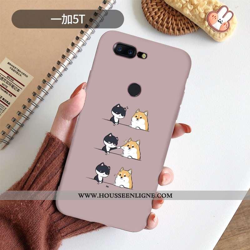 Coque Oneplus 5t Silicone Protection Amoureux Rose Dessin Animé Téléphone Portable