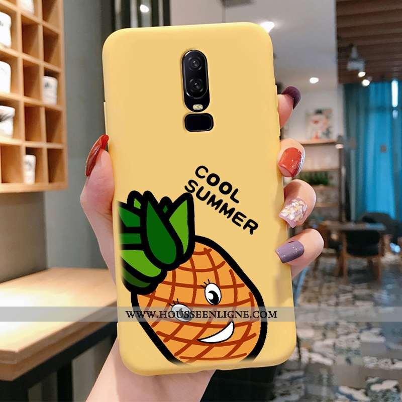 Coque Oneplus 6 Créatif Dessin Animé Téléphone Portable Légère Charmant Fluide Doux Net Rouge Jaune