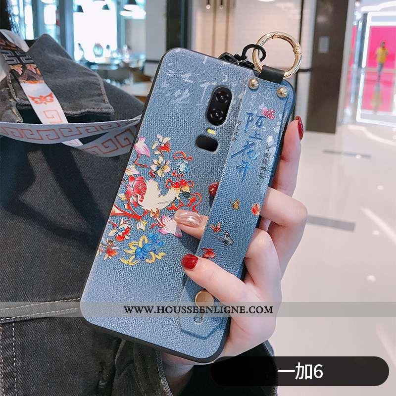 Coque Oneplus 6 Protection Ornements Suspendus Fleur Fluide Doux Bleu Net Rouge Téléphone Portable