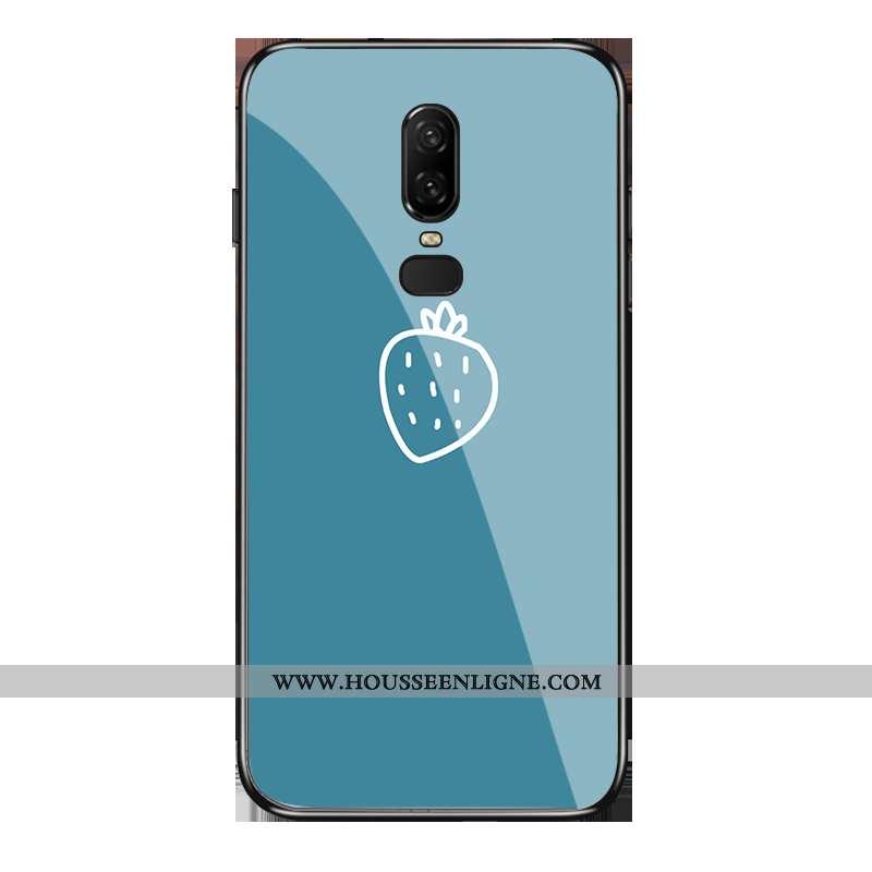 Coque Oneplus 6 Verre Délavé En Daim Étui Bleu Téléphone Portable Petit