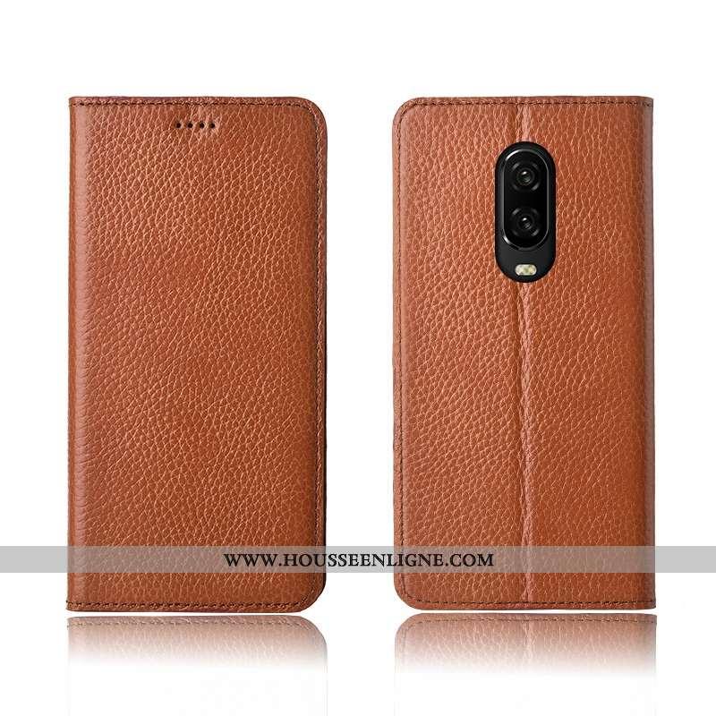 Coque Oneplus 6t Cuir Véritable Cuir Fluide Doux Clamshell Tout Compris Téléphone Portable Khaki