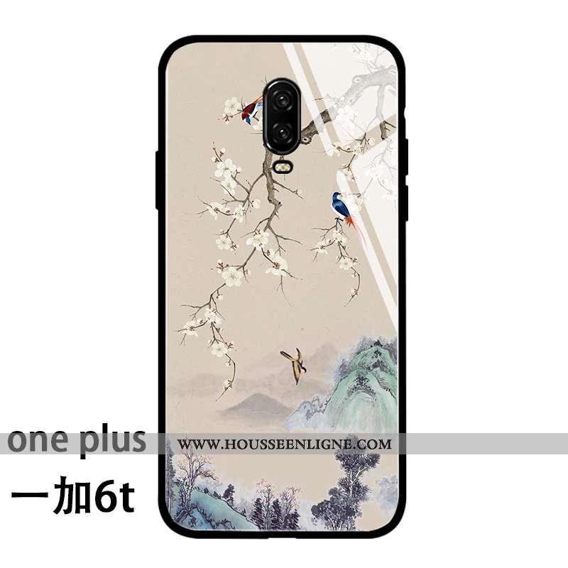 Coque Oneplus 6t Fluide Doux Silicone Incassable Style Chinois Personnalité Tout Compris Beige