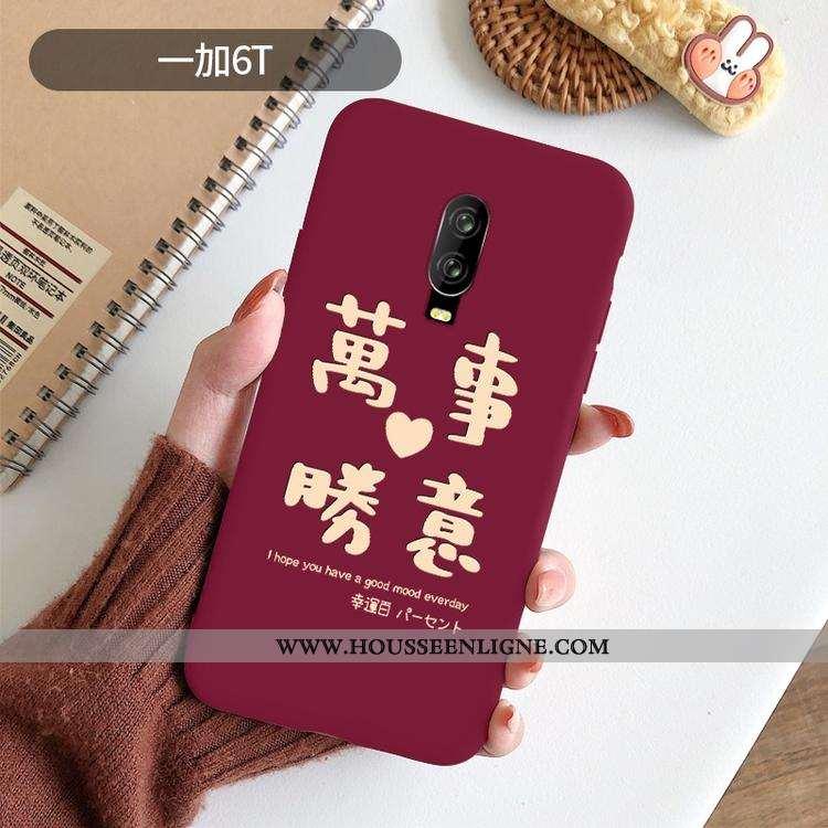 Coque Oneplus 6t Légère Fluide Doux Net Rouge Rouge Téléphone Portable Protection Créatif