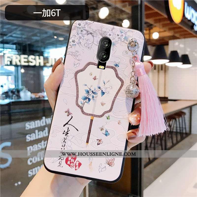 Coque Oneplus 6t Légère Fluide Doux Tout Compris Net Rouge Protection À Franges Téléphone Portable R