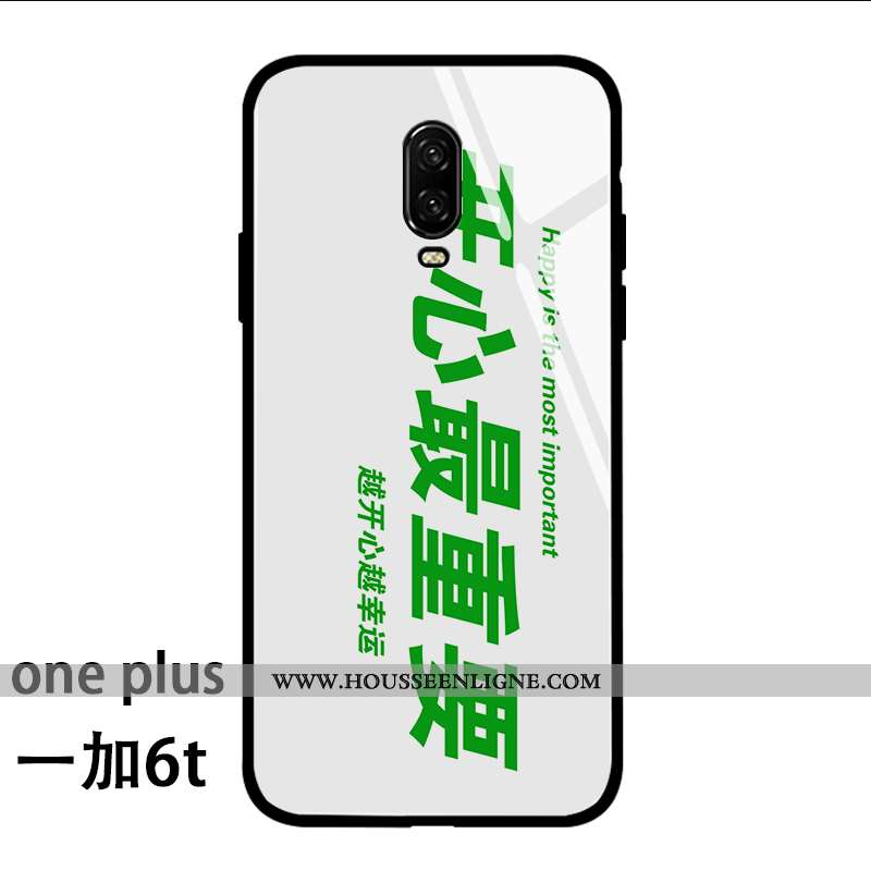 Coque Oneplus 6t Protection Verre Fluide Doux Silicone Étui Tendance Incassable Verte