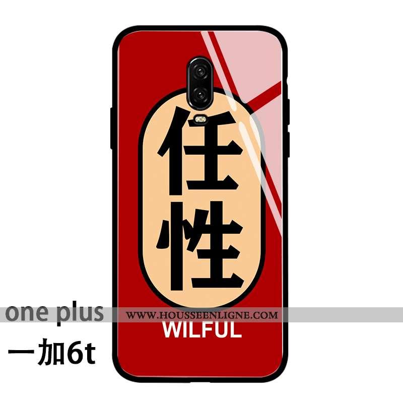 Coque Oneplus 6t Verre Personnalité Incassable Drôle Téléphone Portable Silicone Rouge