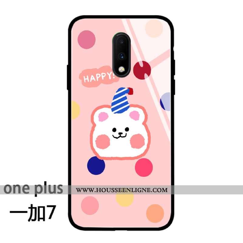 Coque Oneplus 7 Charmant Silicone Amoureux Étui Simple Protection Téléphone Portable Rose