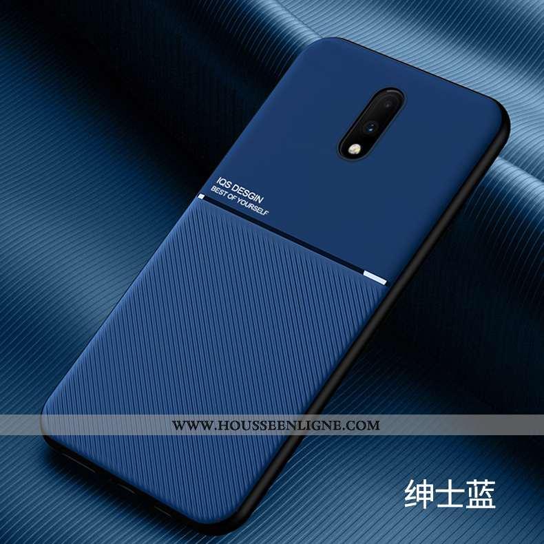 Coque Oneplus 7 Fluide Doux Silicone Ultra Personnalité Bleu Marin Délavé En Daim Légère Bleu Foncé