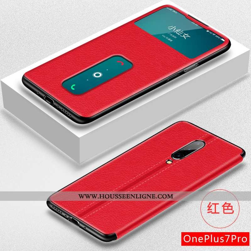 Coque Oneplus 7 Pro Cuir Fluide Doux Téléphone Portable Créatif Protection Personnalité Légère Rouge