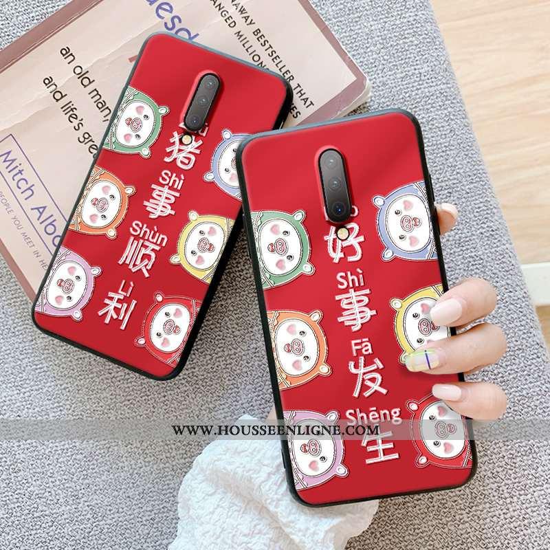 Coque Oneplus 7 Pro Gaufrage Ultra Fluide Doux Téléphone Portable Dimensionnel Étui Légère Rouge