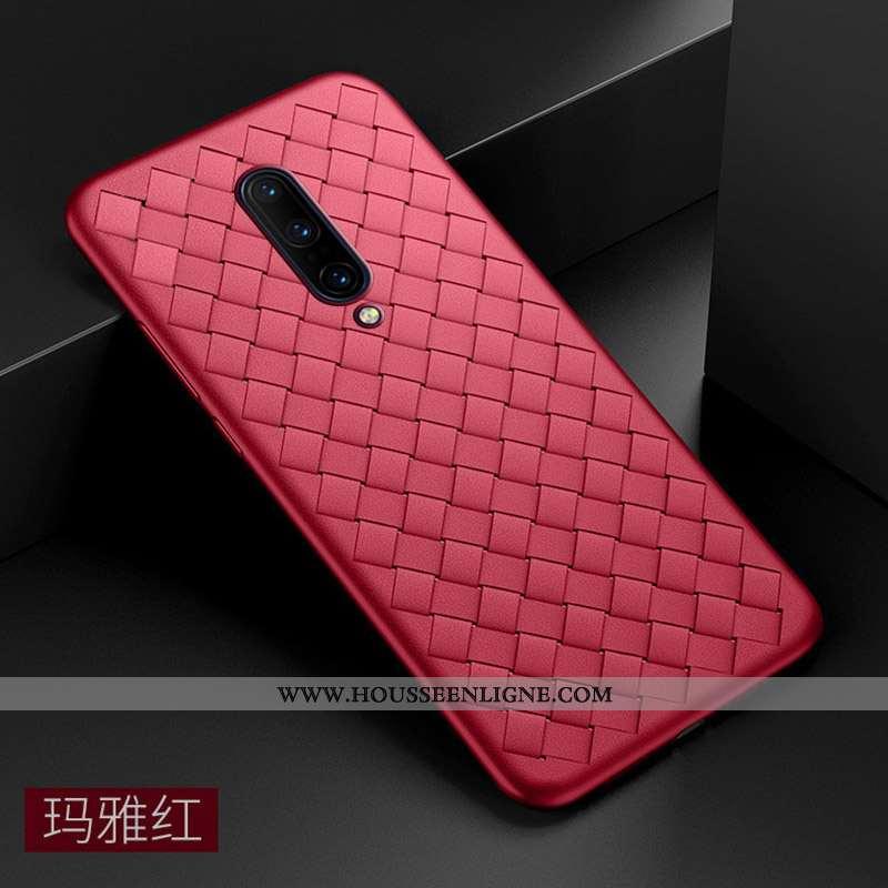 Coque Oneplus 7 Pro Légère Silicone Net Rouge Ultra Téléphone Portable Tendance