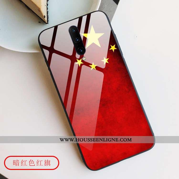 Coque Oneplus 7 Pro Verre Créatif Tout Compris Étoile Téléphone Portable Style Chinois Rouge
