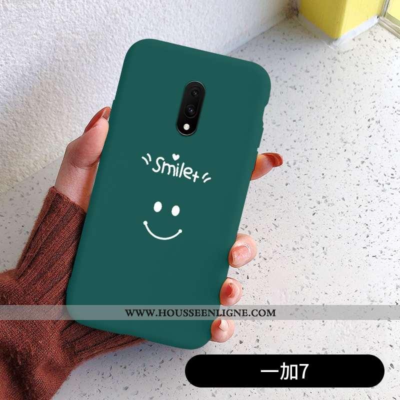 Coque Oneplus 7 Protection Silicone Net Rouge Étui Téléphone Portable Incassable Verte
