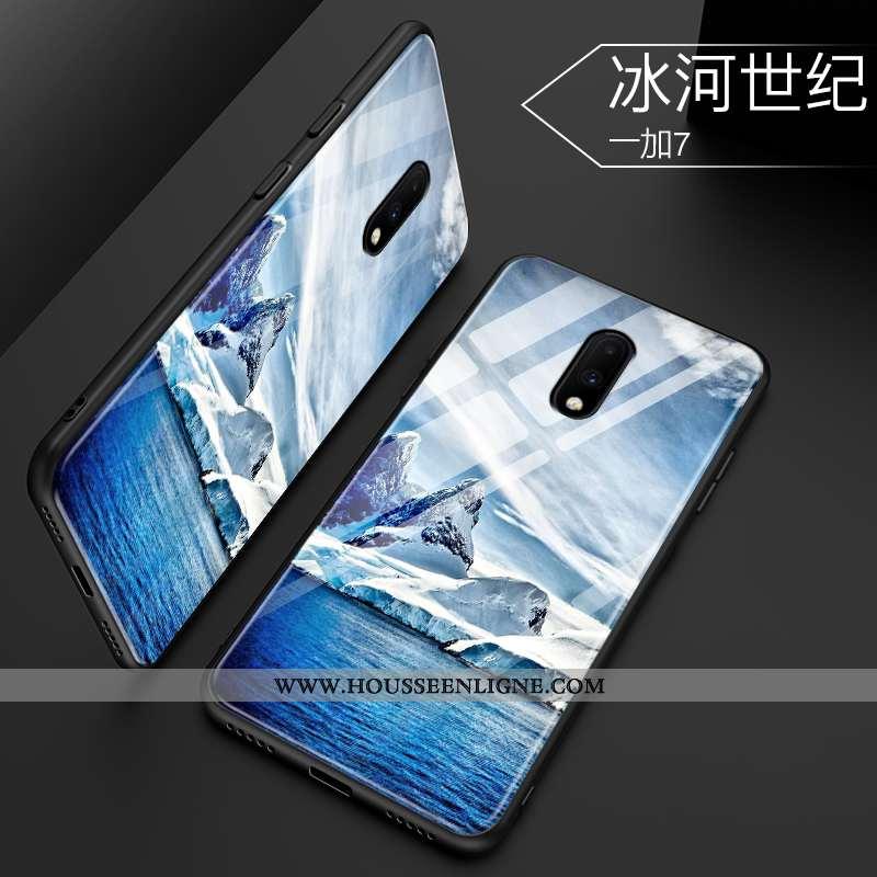 Coque Oneplus 7 Protection Verre Créatif Net Rouge Tout Compris Téléphone Portable Tendance Bleu