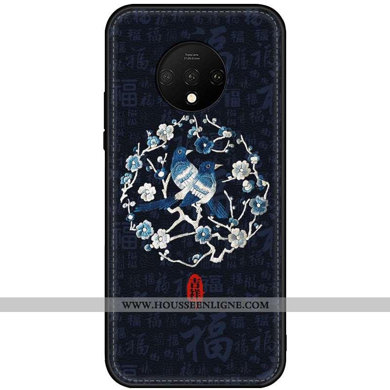 Coque Oneplus 7t Cuir Modèle Fleurie Tendance Incassable Téléphone Portable Tout Compris Style Chino