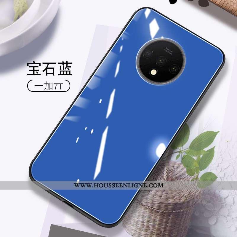 Coque Oneplus 7t Personnalité Créatif Téléphone Portable Net Rouge Tout Compris Couleur Unie Bleu Fo