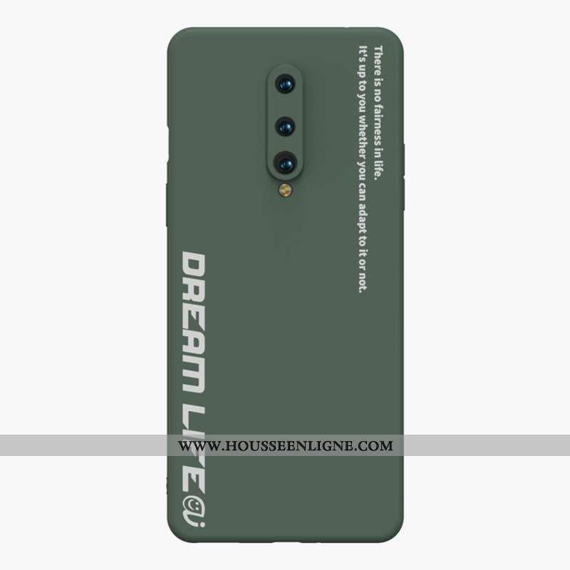 Coque Oneplus 8 Personnalité Créatif Fluide Doux Simple Vert Silicone Ultra Armée Verte