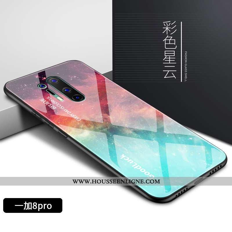 Coque Oneplus 8 Pro Tendance Fluide Doux Téléphone Portable Nouveau Verre Motif Silicone Coloré