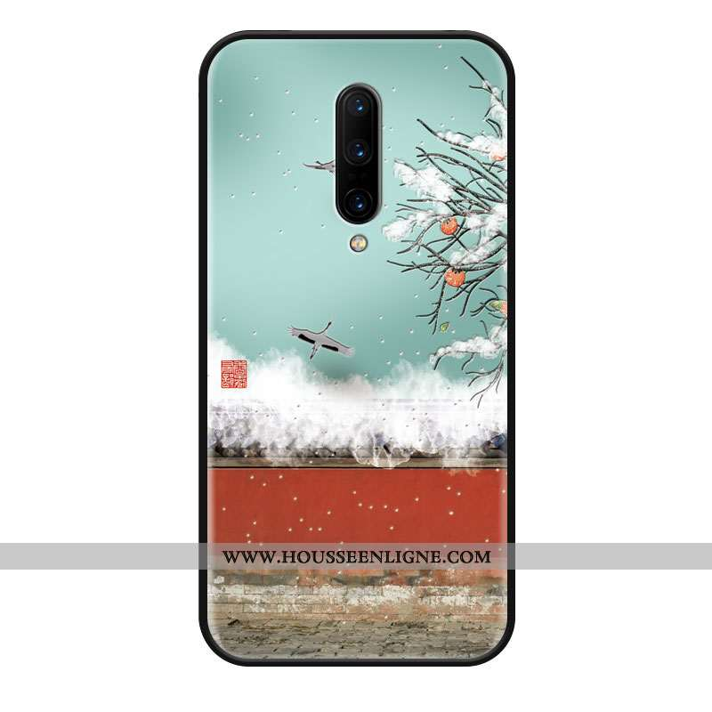 Coque Oneplus 8 Silicone Protection Bleu Vintage Téléphone Portable Style Chinois