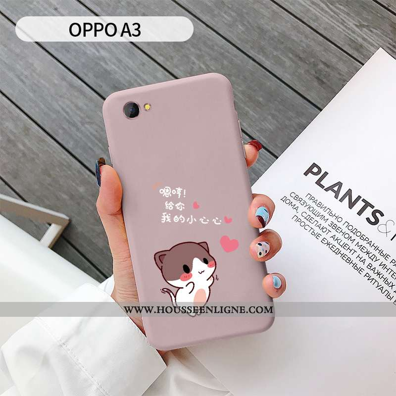 Coque Oppo A3 Personnalité Charmant Chat Téléphone Portable Rose Net Rouge Tout Compris