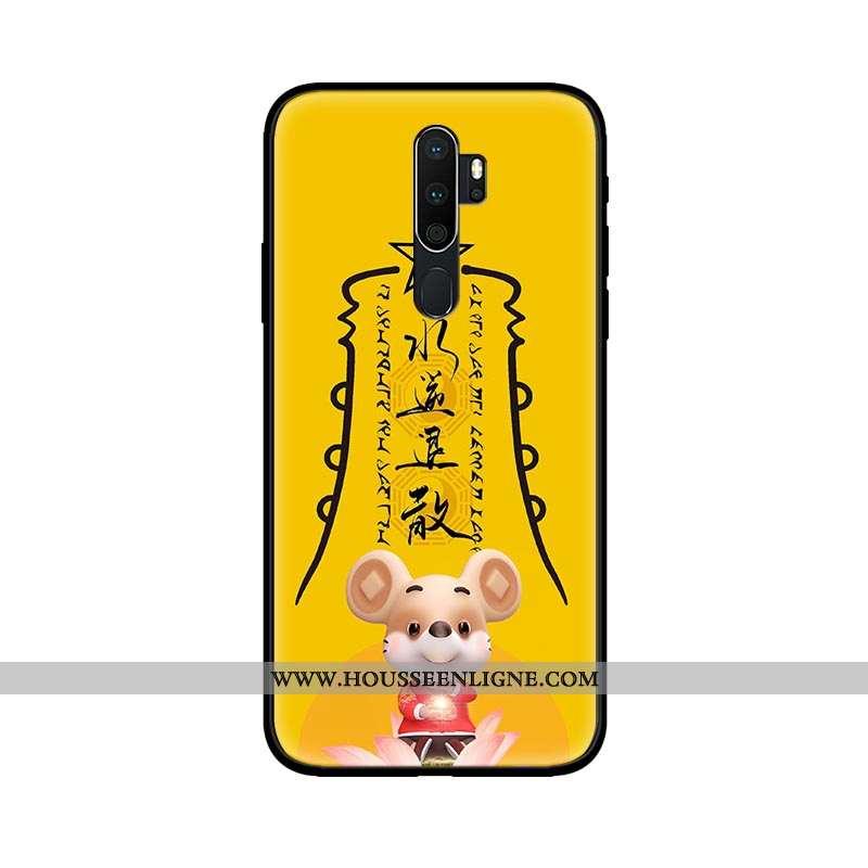 Coque Oppo A5 2020 Délavé En Daim Verre Amoureux Jaune Téléphone Portable