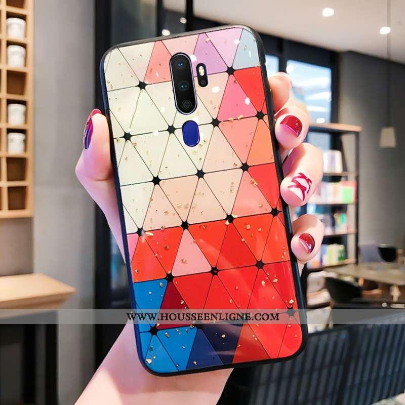 Coque Oppo A5 2020 Personnalité Créatif Verre Net Rouge Étui Protection Miroir