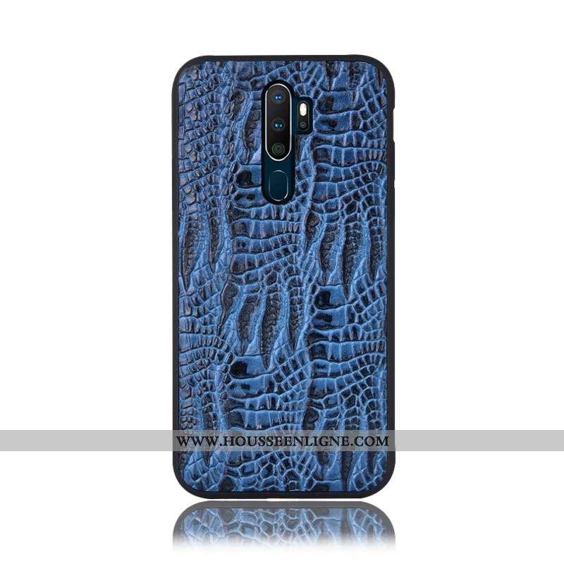 Coque Oppo A5 2020 Protection Cuir Véritable Téléphone Portable Étui Bleu Couvercle Arrière
