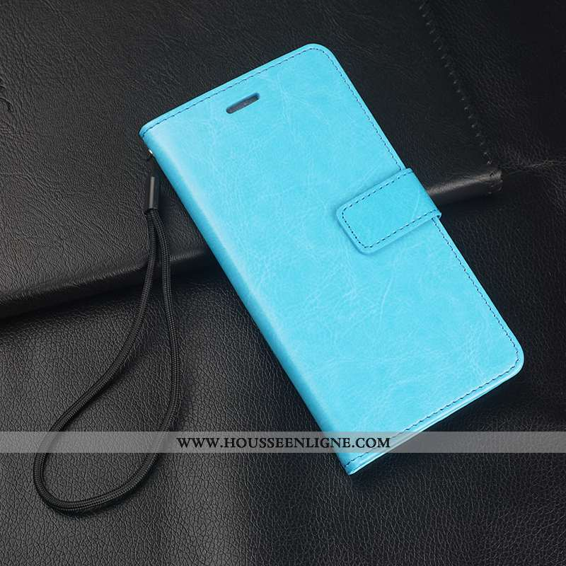 Coque Oppo A5 Cuir Fluide Doux Tout Compris Silicone Incassable Clamshell Ornements Suspendus Bleu