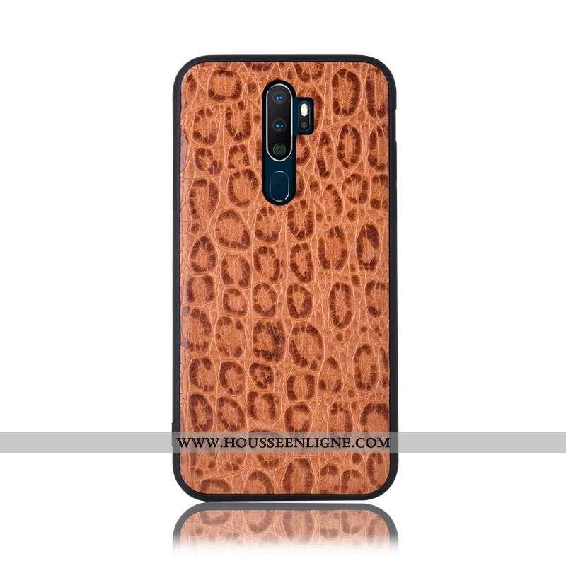 Coque Oppo A9 2020 Cuir Véritable Protection Téléphone Portable Kaki Incassable Étui Couvercle Arriè