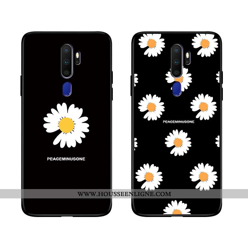 Coque Oppo A9 2020 Fluide Doux Silicone Amoureux Incassable Noir Téléphone Portable