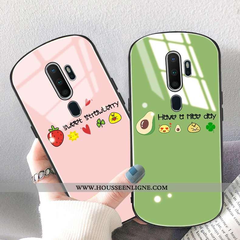 Coque Oppo A9 2020 Protection Verre Téléphone Portable Citron Rond Étui Verte