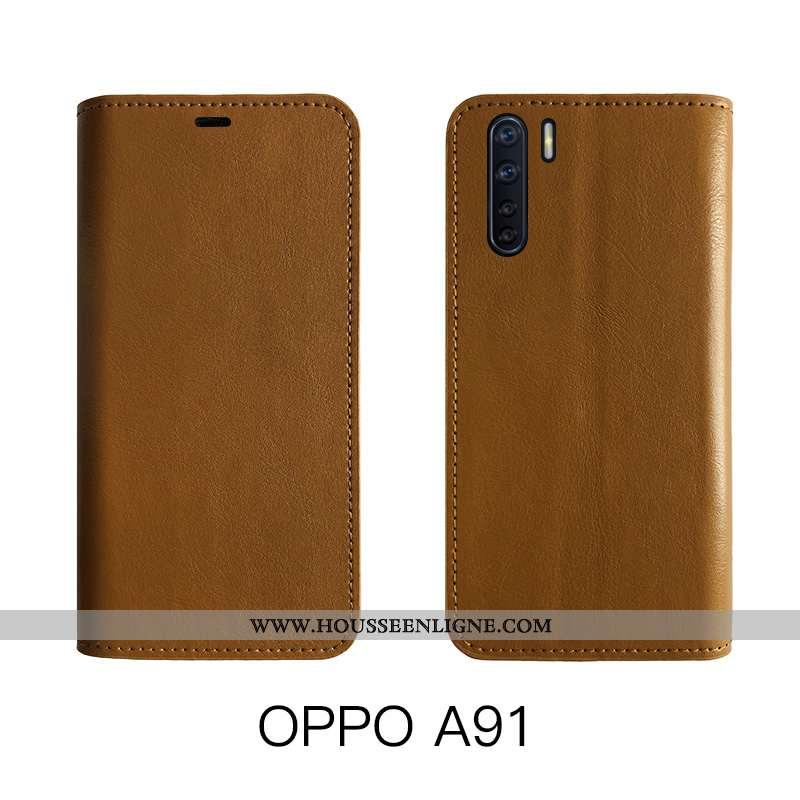 Coque Oppo A91 Cuir Protection Véritable Étui Housse Bovins Marron