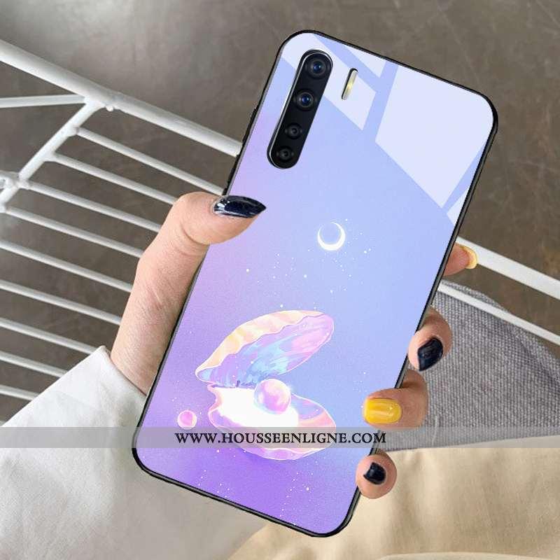 Coque Oppo A91 Dessin Animé Tendance Rêver Net Rouge Incassable Verre Violet
