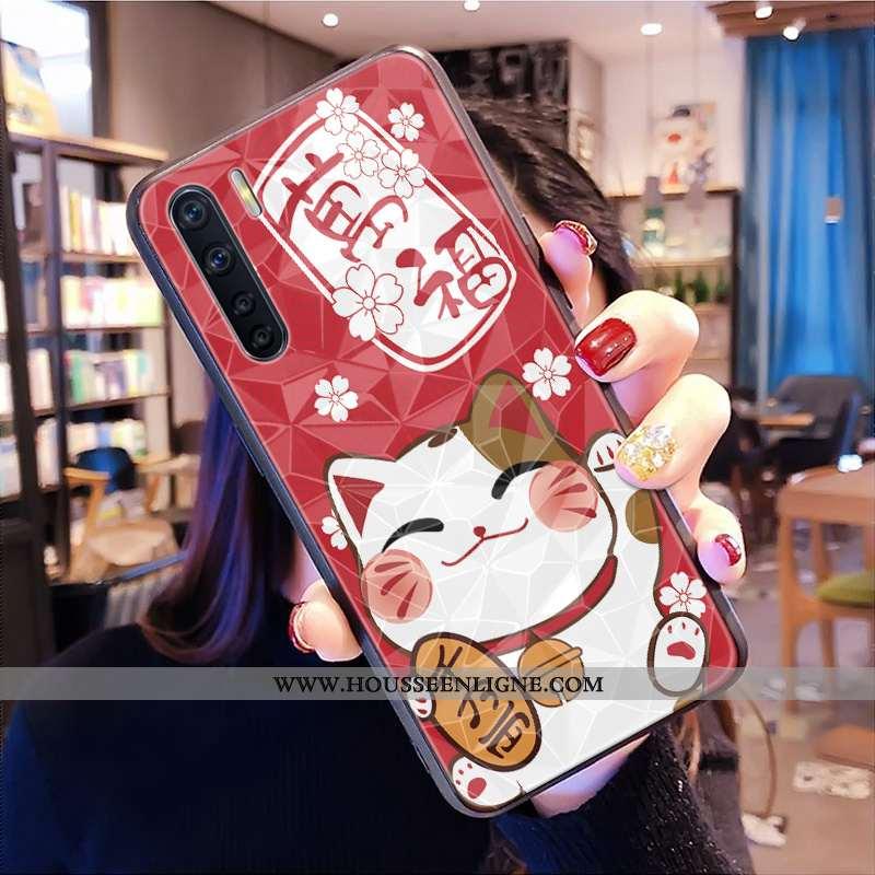 Coque Oppo A91 Modèle Fleurie Fluide Doux Grand Chat Téléphone Portable Dessin Animé Amoureux Rouge