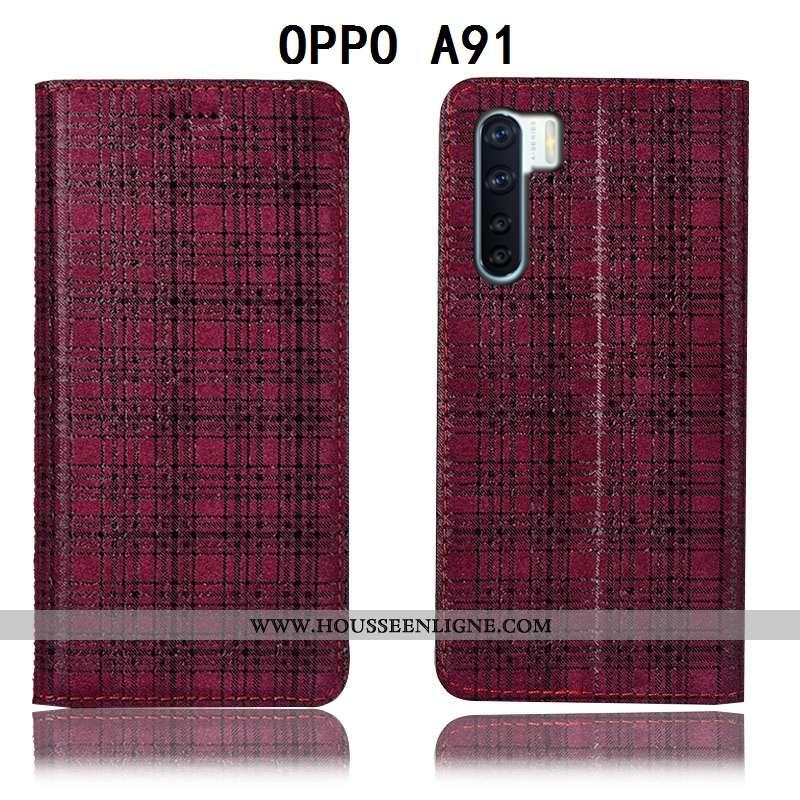 Coque Oppo A91 Modèle Fleurie Protection Velours Étui Plaid Housse Bordeaux