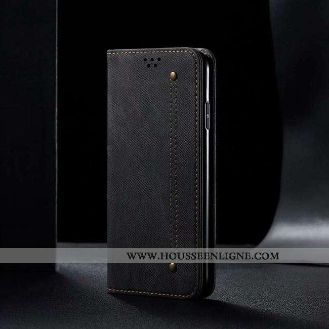Coque Oppo A91 Personnalité Cuir Étui Protection Silicone Incassable Noir