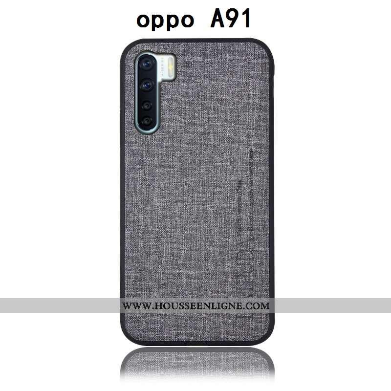 Coque Oppo A91 Protection Cuir Incassable Étui Téléphone Portable Gris