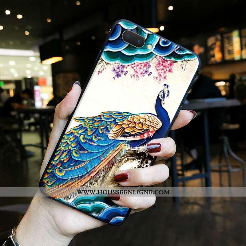 Coque Oppo Ax5 Gaufrage Vintage Ethnique Protection Téléphone Portable Paon Bleu