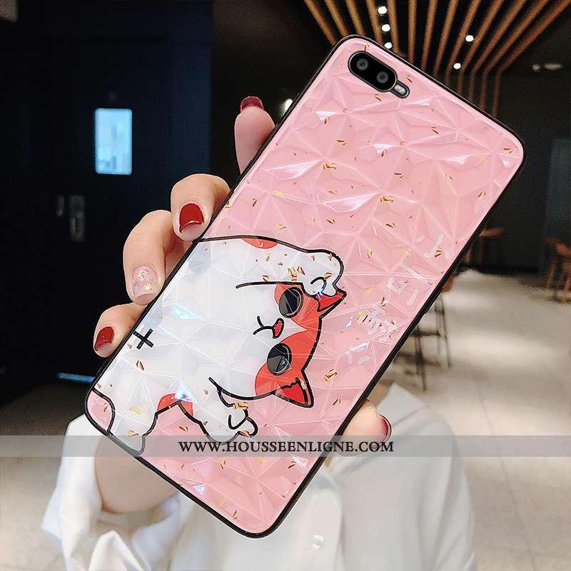 Coque Oppo Ax7 Modèle Fleurie Charmant Tendance Incassable Téléphone Portable Losange Rose