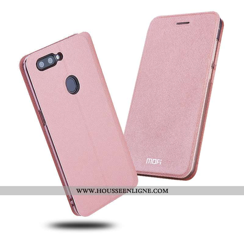 Coque Oppo Ax7 Protection Cuir Rose Étui Simple Silicone